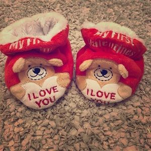 NWOT My First Valentines Baby Slippers